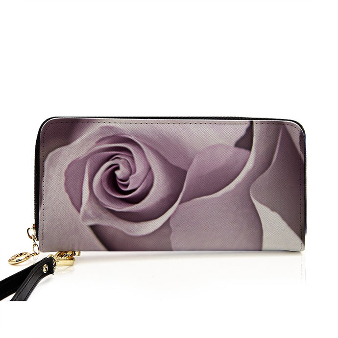 Lavender Rose Long Clutch Purse