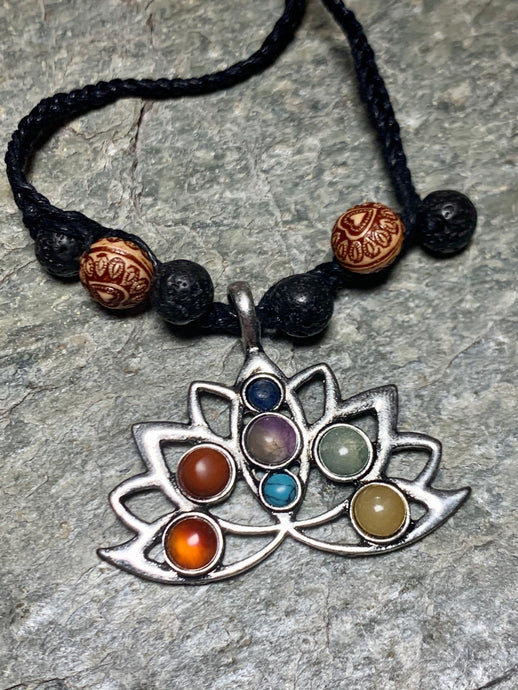 Chakra Lotus and Lava Stone Necklace