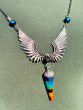Flying Wings Chakra Pendant with Lava Stone Necklace