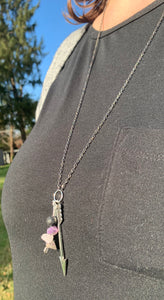 Amethyst Lava Stone and Arrow Necklace