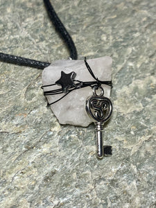 Quartz with Hematite Star and Key Necklace