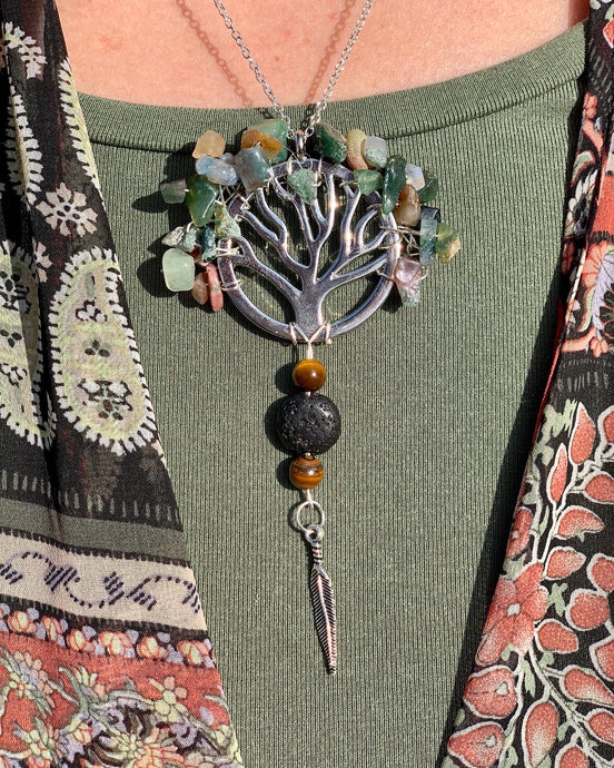 Jasper Crystal Tree with Tiger's Eye and Lava Stone Necklace