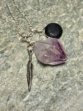 Amethyst Lava Stone and Feather Necklace
