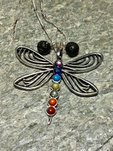Dragonfly Chakra and Lava Stone Necklace