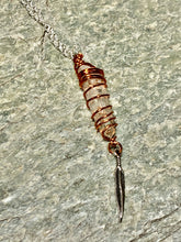 Clear Quartz Copper Wrapped with Feather Necklace