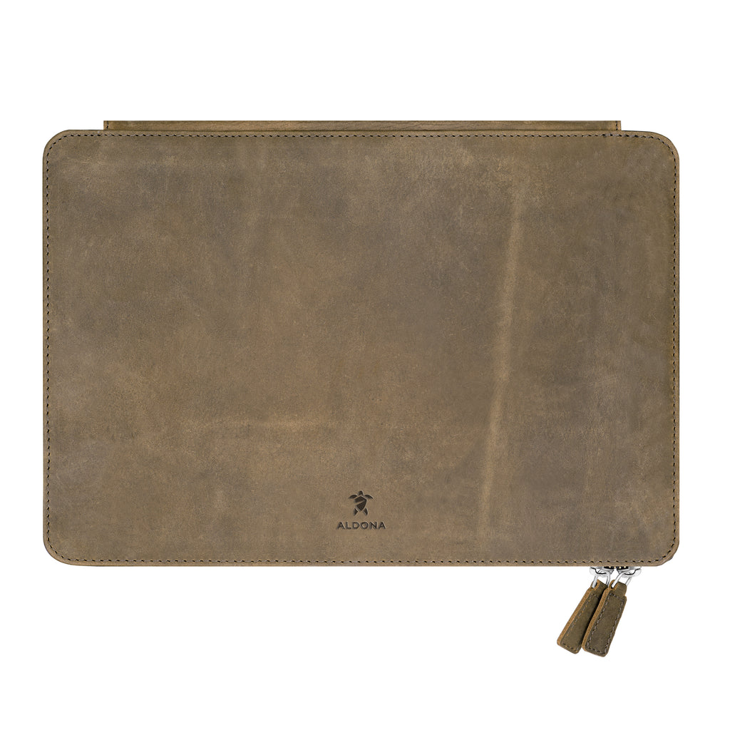 Megaleio Leather Sleeve for 15 Inch MacBook Pro - Burnt Tobacco Colour