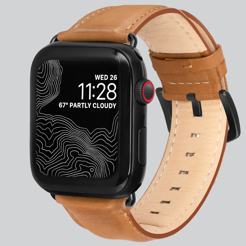 Encantar Leather Apple Watch Strap - 42 mm / 44 mm - Vintage Tan Colour