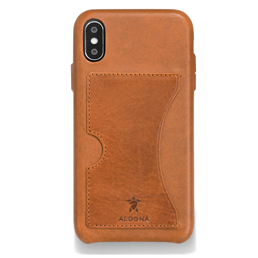 Baxter Leather iPhone XS / X Card Case - Wild Oak Colour