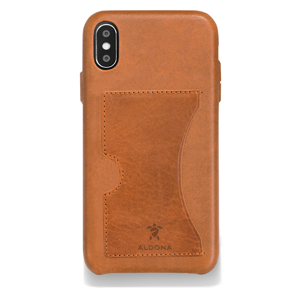 Baxter Leather iPhone XS Max Card Case - Wild Oak Colour