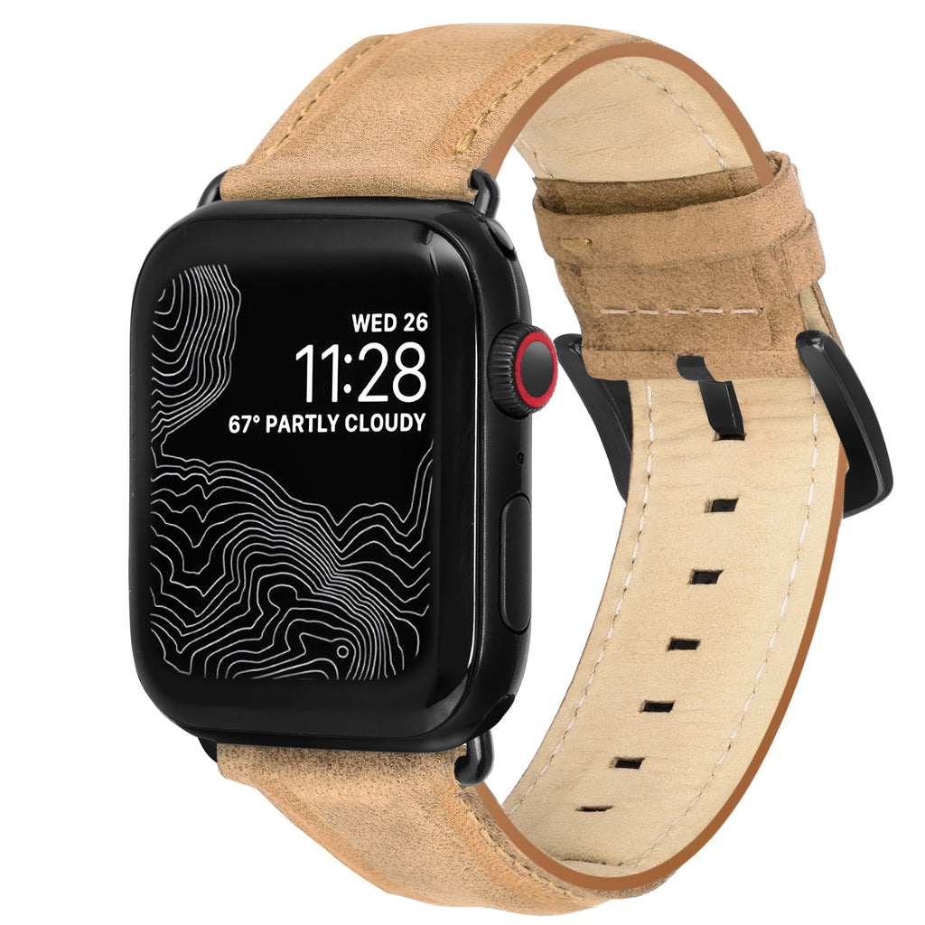 Encantar Leather Apple Watch Strap - 42 mm / 44 mm - Natural Camel Colour