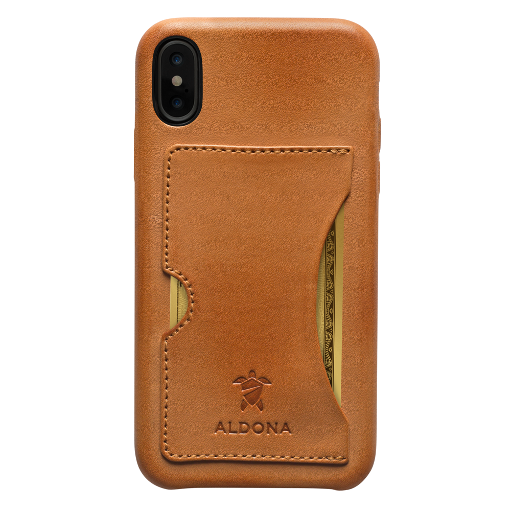 Baxter Leather iPhone XS Max Card Case - Vintage Tan Colour