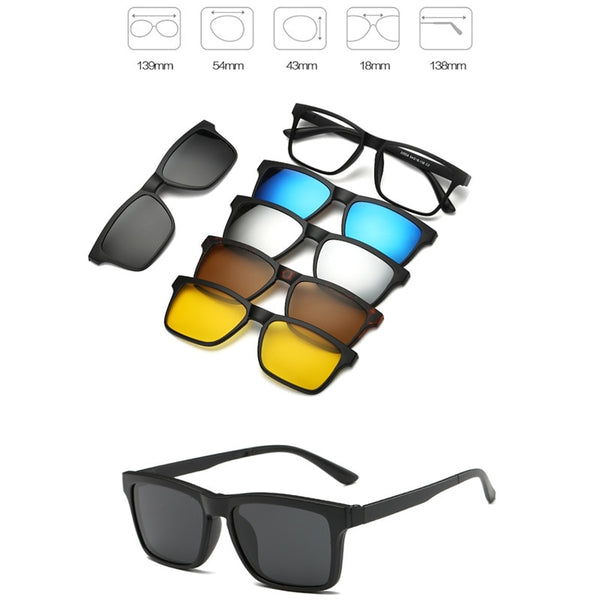 475a098f1ce 5 Pieces Clip On Sunglasses Polarized Magnetic Glasses Spectacle Frame -  moslool88