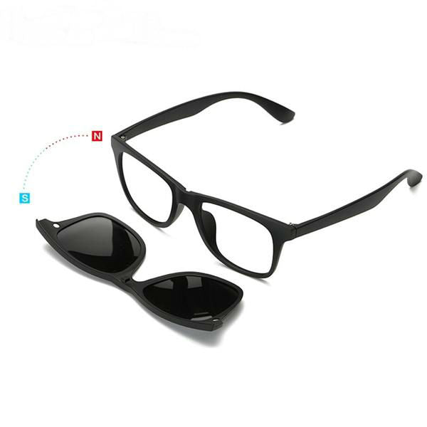 7647e3cd23 5 Pieces Clip On Sunglasses Polarized Magnetic Glasses Spectacle Frame