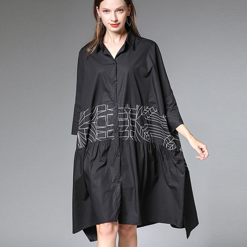 Plus Size Button-Front Oversized Shirt Dress - moslool88