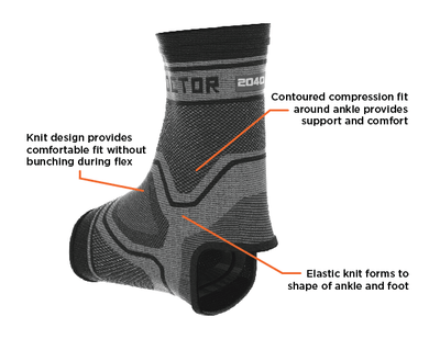 Shock Doctor Compression Knit Ankle Sleeve Features