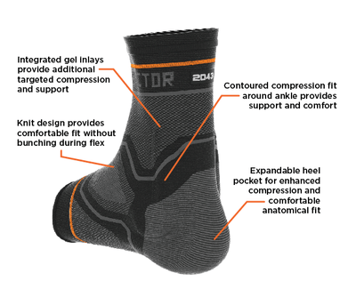 Shock Doctor Compression Knit Ankle Sleeve with Gel Support Features