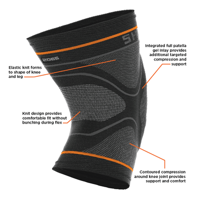 Shock Doctor Compression Knit Knee Sleeve with Gel Support Features