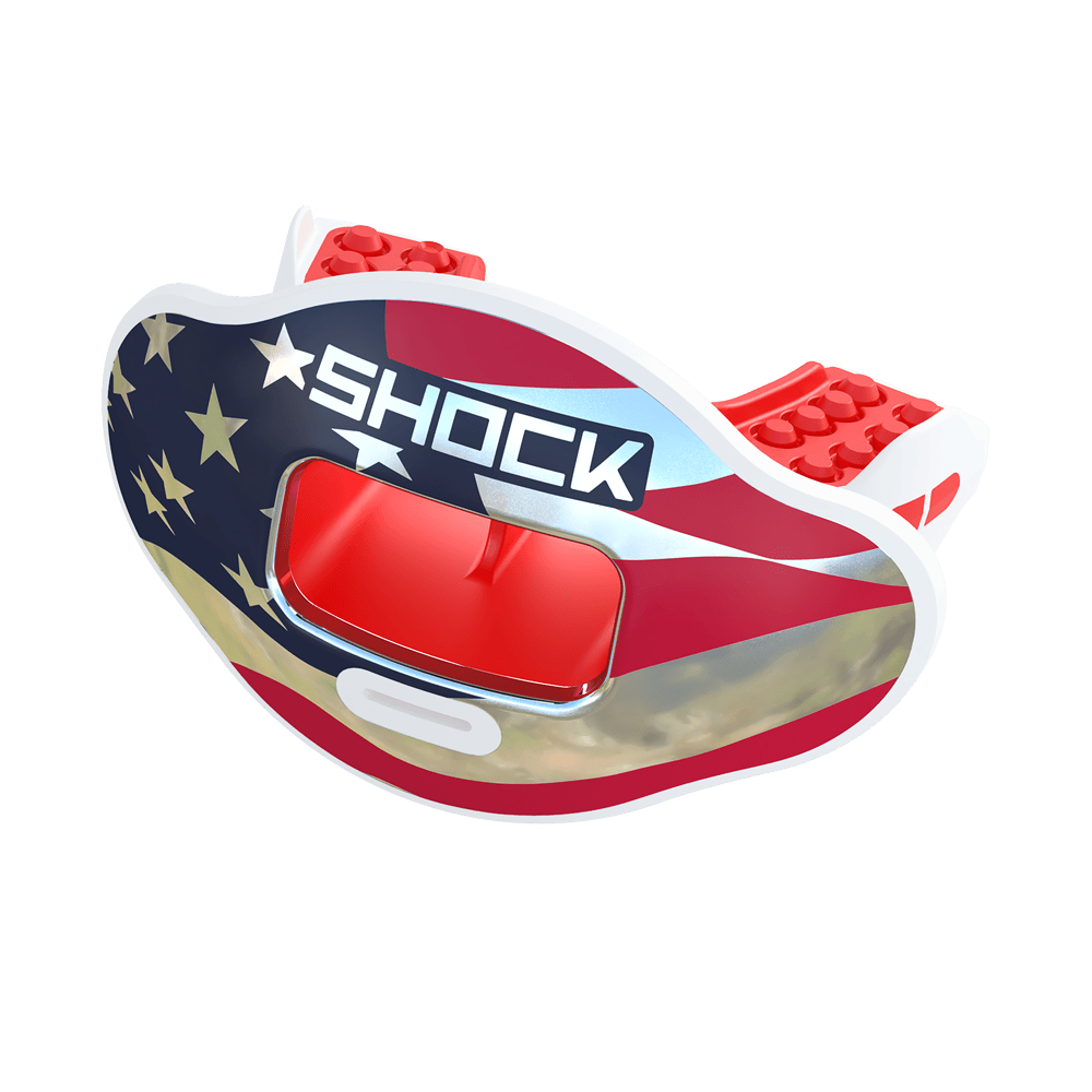 Chrome Stars & Stripes Max AirFlow Football Mouthguard - Red White & Blue Chrome
