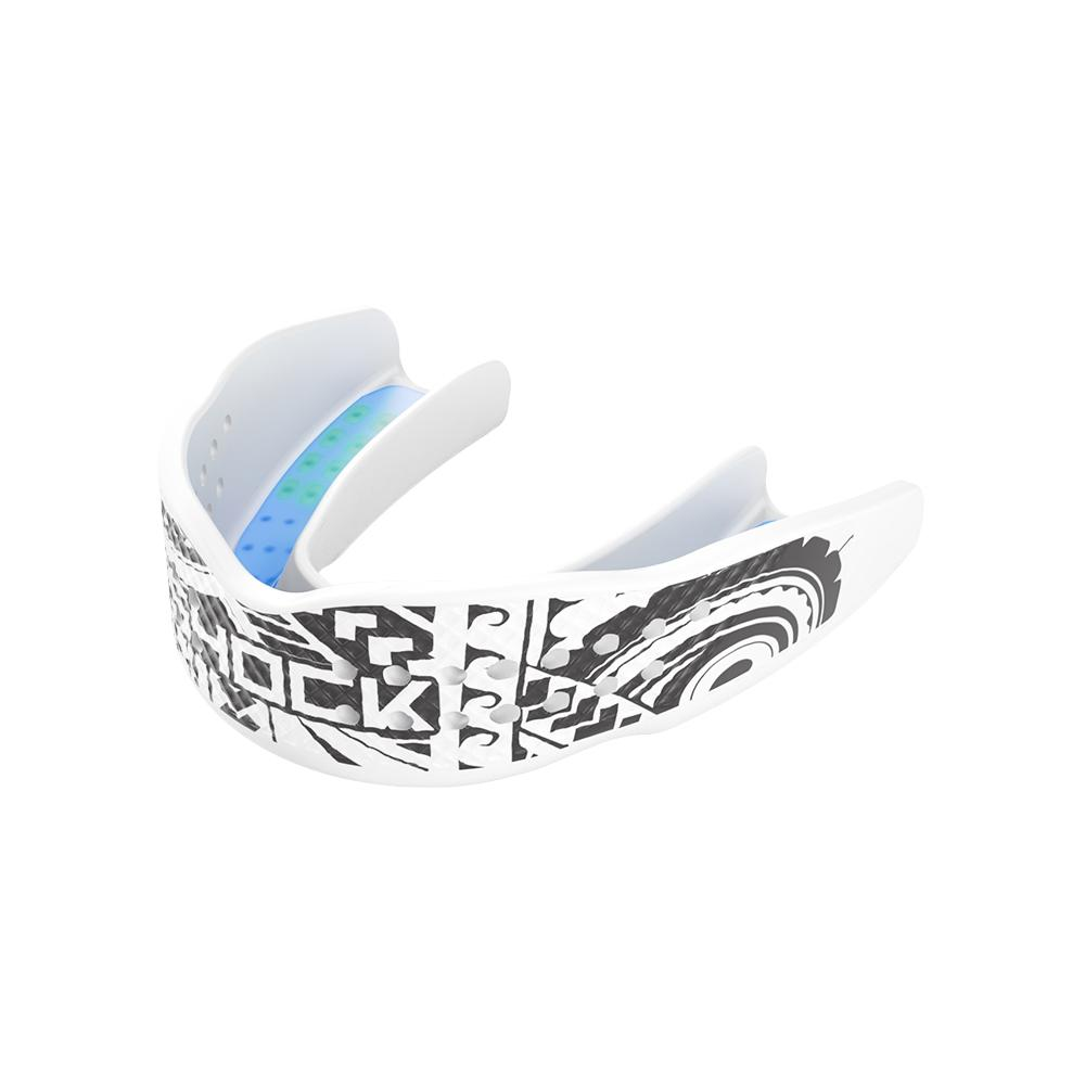Shock Doctor Trash Talker White Tribal Mouthguard - Front Side Angle