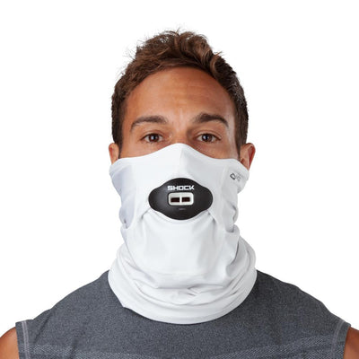 White Play Safe Neck-Face Gaiter – Male Model Wearing Protective Safety Face and Neck Covering with Black Max AirFlow Football Mouthguard - Front Angle