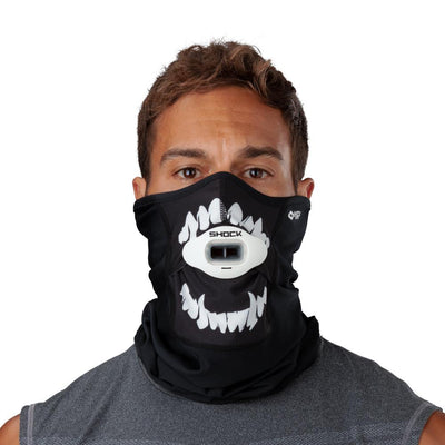 Black White Fang Play Safe Neck-Face Gaiter – Male Model Wearing Protective Safety Face and Neck Covering with White Max AirFlow Football Mouthguard - Front Angle