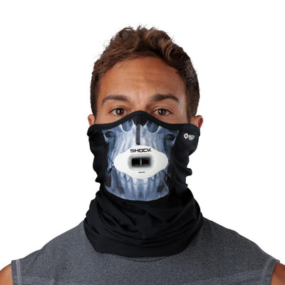 Skull Play Safe Neck-Face Gaiter – Male Model Wearing Protective Safety Face and Neck Covering with White Max AirFlow Football Mouthguard - Front Angle
