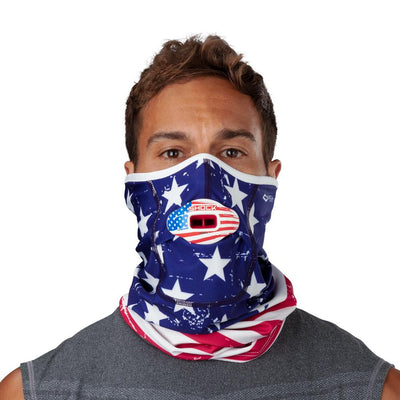 Stars & Stripes Play Safe Neck-Face Gaiter – Male Model Wearing Protective Safety Face and Neck Covering with USA Max AirFlow Football Mouthguard - Front Angle