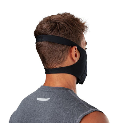 Black Play Safe Face Mask – Male Model Wearing Protective Safety Face Mask - Back Angle