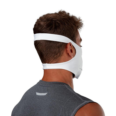 White Play Safe Face Mask – Male Model Wearing Protective Safety Face Mask - Back Angle Showing Straps