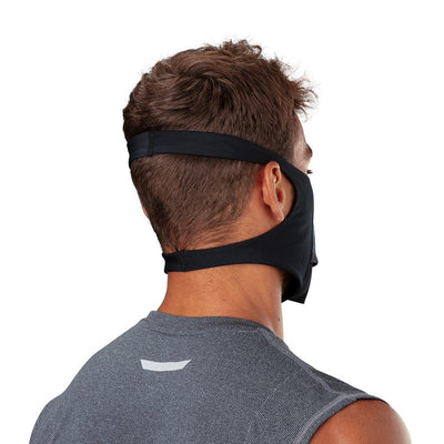 Drip Play Safe Face Mask – Male Model Wearing Protective Safety Face Mask - Back of Head Angle with Showing Straps