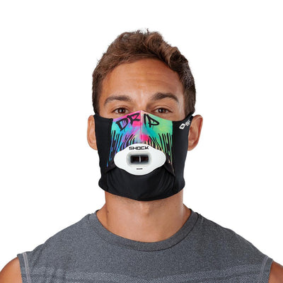Drip Play Safe Face Mask – Male Model Wearing Protective Safety Face Mask with Max AirFlow Football Mouthguard - Front Angle