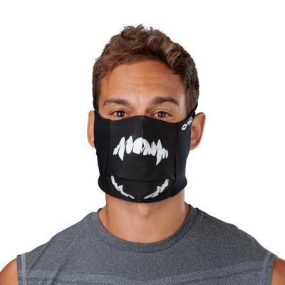 Black White Fang Play Safe Face Mask – Male Model Wearing Protective Safety Face Mask - Front Angle