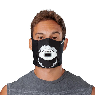 Black White Fang Play Safe Face Mask – Male Model Wearing Protective Safety Face Mask with Max AirFlow Football Mouthguard - Front Angle
