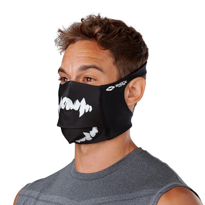 Black White Fang Play Safe Face Mask – Male Model Wearing Protective Safety Face Mask - Left Angle