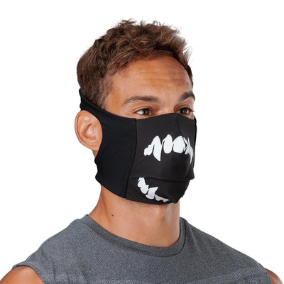 Black White Fang Play Safe Face Mask – Male Model Wearing Protective Safety Face Mask - Right Angle