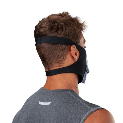 Skull Play Safe Face Mask – Male Model Wearing Protective Safety Face Mask - Back of Head Angle with Showing Straps