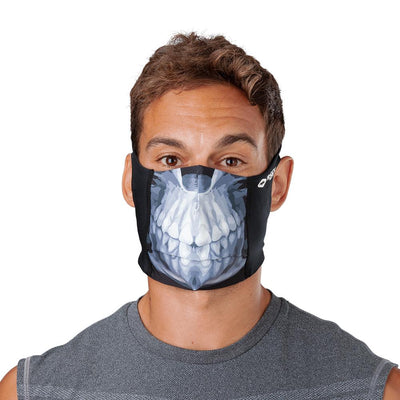 Skull Play Safe Face Mask – Male Model Wearing Protective Safety Face Mask - Front Angle