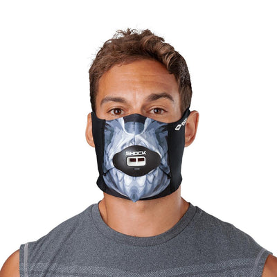 Skull Play Safe Face Mask – Male Model Wearing Protective Safety Face Mask with Max AirFlow Football Mouthguard - Front Angle