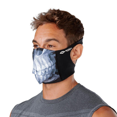 Skull Play Safe Face Mask – Male Model Wearing Protective Safety Face Mask - Left Angle