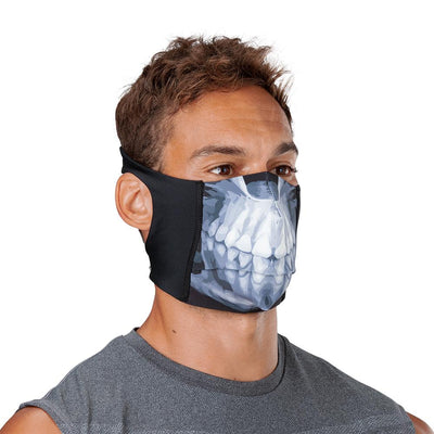 Skull Play Safe Face Mask – Male Model Wearing Protective Safety Face Mask - Right Angle