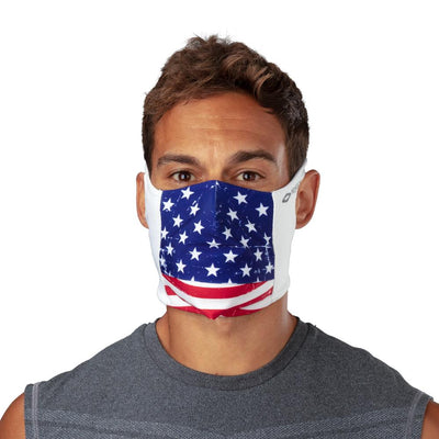 USA Stars & Stripes Play Safe Face Mask – Male Model Wearing Protective Safety Face Mask - Front Angle