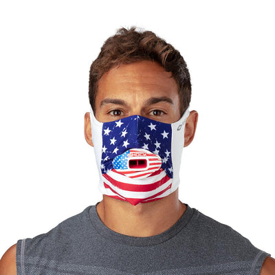 USA Stars & Stripes Play Safe Face Mask – Male Model Wearing Protective Safety Face Mask with Max AirFlow Football Mouthguard - Front Angle