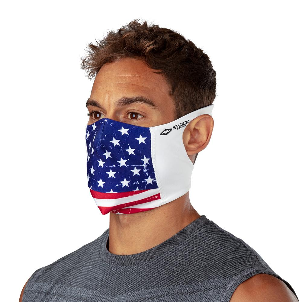 USA Stars & Stripes Play Safe Face Mask – Male Model Wearing Protective Safety Face Mask - Left Angle