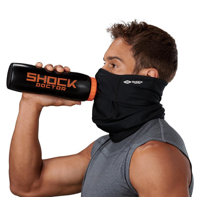 Black Play Safe Neck-Face Gaiter – Male Model Wearing Protective Safety Face and Neck Covering while Drinking a Hydration Water Bottle - Left Angle
