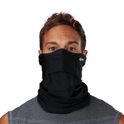 Black Play Safe Neck-Face Gaiter – Male Model Wearing Protective Safety Face and Neck Covering - Front Angle