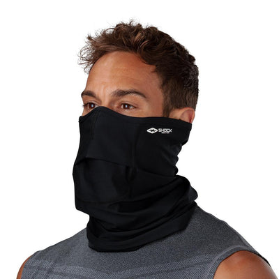 Black Play Safe Neck-Face Gaiter– Male Model Wearing Protective Safety Face and Neck Covering - Left Angle