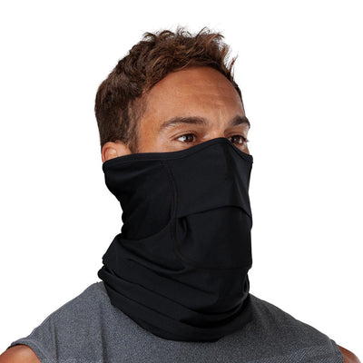 Black Play Safe Neck-Face Gaiter – Male Model Wearing Protective Safety Face and Neck Covering - Right Angle