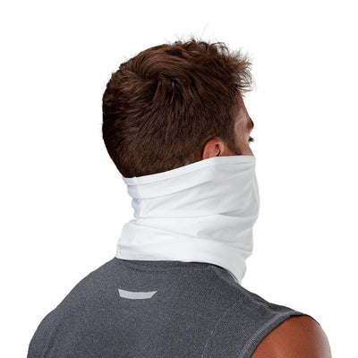 White Play Safe Neck-Face Gaiter – Male Model Wearing Protective Safety Face and Neck Covering - Back of Head Angle