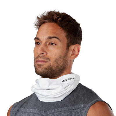White Play Safe Neck-Face Gaiter– Male Model Not Wearing Protective Safety Face and Neck Covering - Left Angle