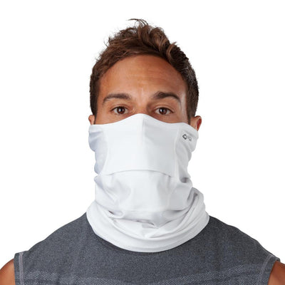 White Play Safe Neck-Face Gaiter – Male Model Wearing Protective Safety Face and Neck Covering - Front Angle